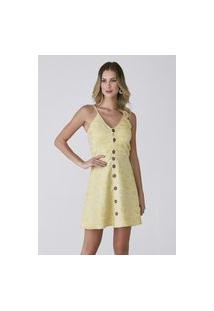 Vestido Celestine Com Botões Amarelo