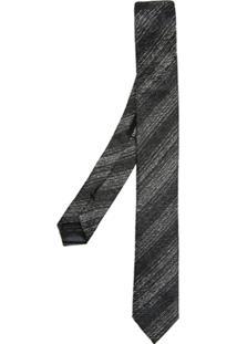 Emporio Armani Gravata De Seda Estampada - Cinza