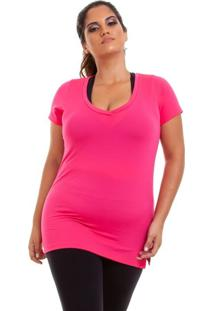 Blusa Dry Plus Size Rosa Neon Best Fit - Kanui