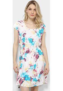 Vestido Pérola Evasê Curto Floral - Feminino-Branco