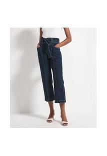 Calça Reta Cropped Jeans Lisa Com Cinto Faixa