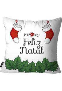 Capa Para Almofada Mdecor De Natal Feliz Branco