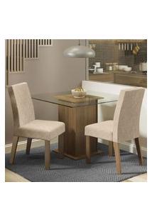 Conjunto Sala De Jantar Madesa Luli Mesa Tampo De Vidro Com 2 Cadeiras - Rustic/Imperial Marrom