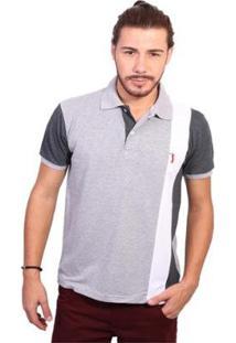 Camisa Polo Golf Club Listrada Masculina - Masculino-Cinza+Chumbo