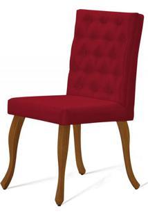 Cadeira Copas Capitone Vermelho Base Castanho - 50547 - Sun House