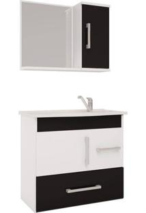 Conjunto De Banheiro Gabinete E Espelho Fortaleza 102X109X22.5 Cm Branco. Preto