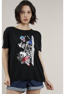 Blusa Feminina Vilões Disney Manga Curta Decote Redondo Preta