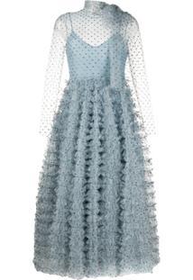 Redvalentino Vestido De Festa Com Aplicações De Cristais - Azul