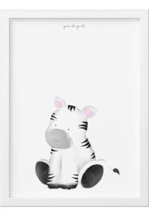 Quadro Amiguinha Zebra 27Cm Grão De Gente Cinza