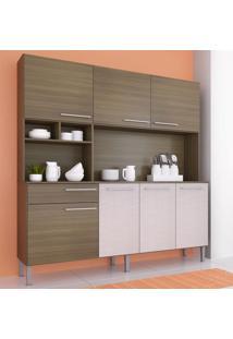 Cozinha Compacta 7 Portas 180 Cm 0284 Anita Castanho/Mel 3D - Genialflex