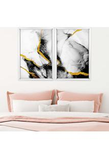 Quadro Com Moldura Chanfrada Elementos Pretos Com Dourado Branco - Mã©Dio - Multicolorido - Dafiti