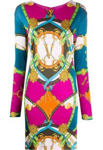 Versace Vestido Com Estampa Gráfica - Rosa