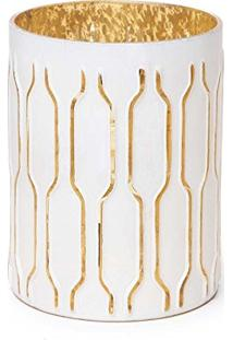 Castiçal Porta Vela Decoração Natal Listras 12Cm Dourado