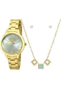 Kit Relógio Allora Feminino Candy Colors Al2036Fgr/K4A - Dourado Al2036Fgr/K4A - Feminino-Dourado