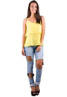Blusa Banna Hanna Crepe Babado Frente - Feminino-Amarelo