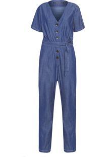 Macacão Feminino Jeans Botões - Azul