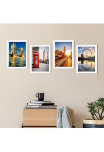 Quadros Fotos Londres Moldura Branca 22X32Cm Kit4Un
