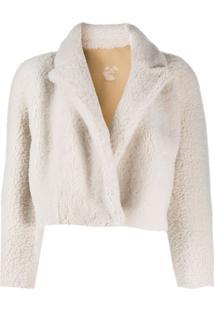 Off-White Jaqueta Cropped Com Pelos - Branco
