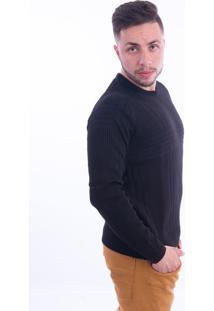 Blusa G'Dom Com Canelados Preta
