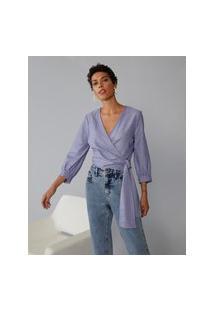 Amaro Feminino Blusa Transpassada Decote V, Azul Indigo