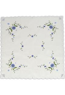 Toalha De Mesa Floral Quadrada- Branca & Azul Escurosultan