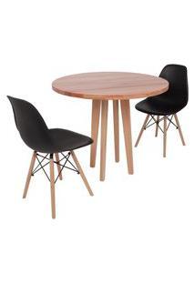 Conjunto Mesa De Jantar Em Madeira 90Cm Com Base Vértice + 2 Cadeiras Eiffel - Preto