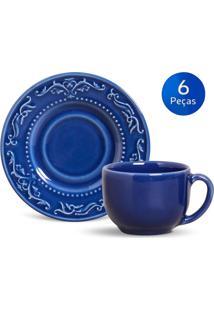 Conjunto 6 Xícaras De Chá C/ Pires Acanthus - Porto Brasil - Azul Escuro