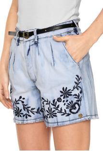 Bermuda Jeans Lunender Reta Bordado Azul