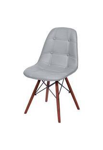 Cadeira Eames Botone Cinza Base Escura - 54682 Cinza