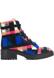 Kenzo Ankle Boot Com Amarração - Azul