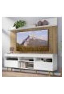 """Rack Com Painel Tv 65"""" Madri Multimóveis Branco/Rustic Com Prateleira E Pés Retrô Natural"""