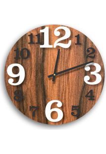 Relógio De Parede Premium Amadeirado Com Números Em Relevo Branco E Preto Ônix 50Cm Grande