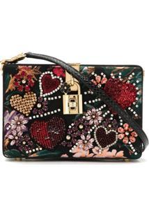 57a7d7f62140f ... Dolce   Gabbana Bolsa Tiracolo Dolce Box Com Bordado - Preto