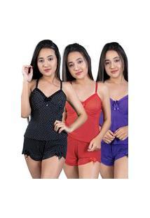 Kit 3 Baby Doll Nj Mix Curto Adulto Regata De Liganete Multicolorido