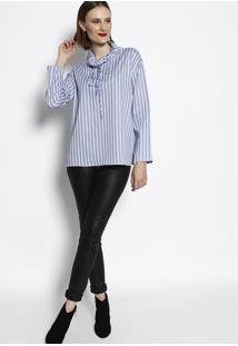 Blusa Listrada- Azul & Branca- Cotton Colors Extracotton Colors Extra