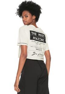 Camiseta Dimy Lettering Recortes Off-White