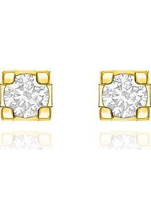 Brinco Solitário Em Ouro Amarelo 18K Com Diamante