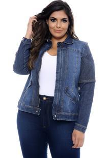 Jaqueta Jeans Forma Rara Plus Size Matelassê-58