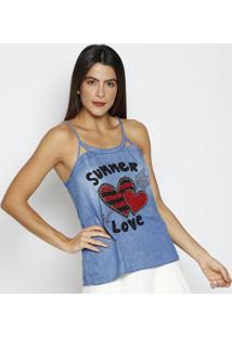 "Regata Jeans ""Summer Love"" - Azul & Vermelha - Thiptthipton"