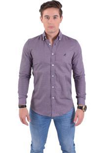 Camisa Social Masculina Slim Xadrez Purpura 100222