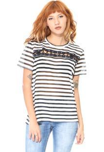 T-Shirt Lady Rock Listrada Branca