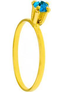 Anel Horus Import Solitário Strass Aquamarine Banhado Ouro Amarelo 18K 1010053