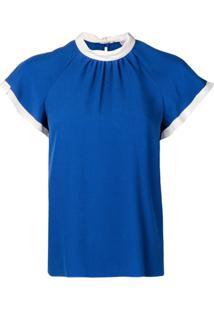 Red Valentino Blusa Com Amarração Na Gola - Azul