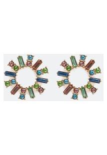 Brinco Circular Com Filetes De Cristais Coloridos   Accessories   Multicores   U