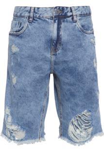 Bermuda Jeans Masculina Clássica Londrina - Azul
