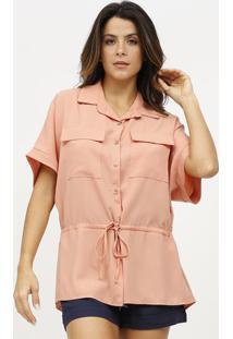 Camisa Lisa Com Canaleta - Coral - Estilo Hestilo H