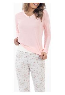 Pijama Longo Floral Laibel (15.011496) Rosa