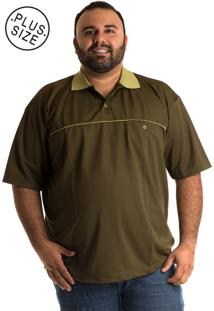 Camisa Konciny Polo Manga Curta Plus Size Musgo