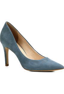 Scarpin Couro Shoestock Salto Alto Bico Fino - Feminino-Azul
