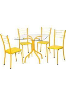 Conjunto De Mesa Com 4 Cadeiras Mira Corino Amarelo